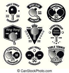 tennis, ping, emblèmes, vecteur, noir, table, pong, ou