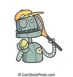 Tennis Player Blue Robot Cartoon Outlined Illustration With Cute Android And His Emotions