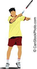 Tennis player. Colored Vector illus