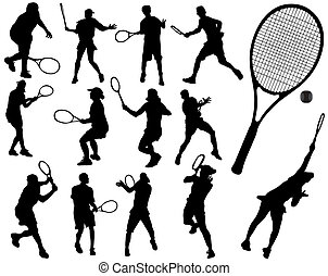 Tennis player -  Black silhouettes of tennis player, vector