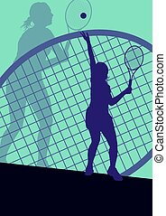 Tennis player female vector abstract
