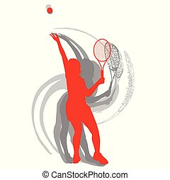 Tennis player female vector abstract background motion concept in red isolated