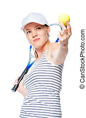 Tennis player focuses on the ball, portrait on a white background