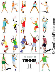 tennis, player., gefärbt, vektor, illu
