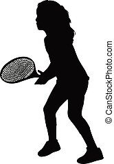 tennis player girl silhouette