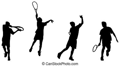Vector and illustration of tennis player hight backhand silhouettes and shadows