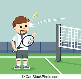 tennis player hit by a ball