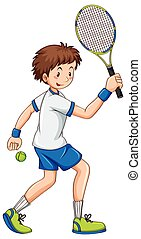 Tennis player hitting ball with racket