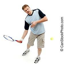 Tennis player hitting incoming ball