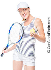 Tennis player holding a ball and a tennis racket in the hands on a white background