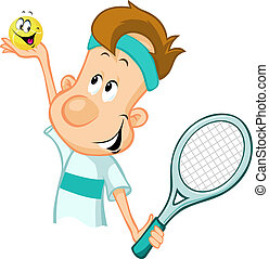 tennis player holding a tennis ball and racket