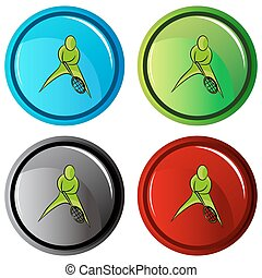Tennis Player Icon Button