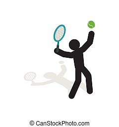 Tennis player icon, isometric 3d style