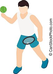 Tennis player icon, isometric style
