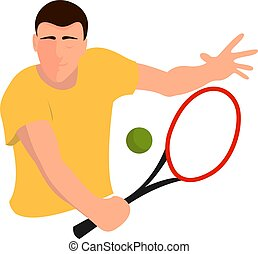 Tennis player, illustration, vector on white background.