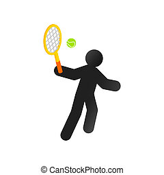 Tennis player isometric 3d icon