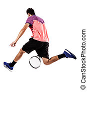 Tennis player jumping for the ball from behind