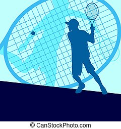 Tennis player male vector abstract