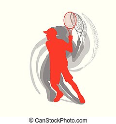 Tennis player male vector abstract background motion concept in red isolated