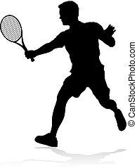 A tennis player man silhouette sports person design element