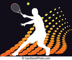 Tennis player on abstract halftone background - vector illustration