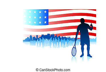Tennis Player on American Flag Background