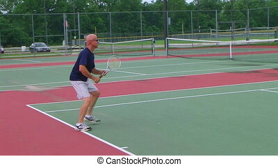 Tennis Player Overhead Smash - Tennis player rushes net for...