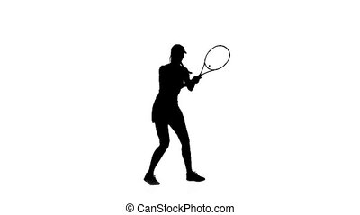 Woman tennis player playing racket and hits the ball while bouncing. Silhouette. White background
