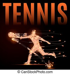 tennis player polygon - Abstract line tennis player in...