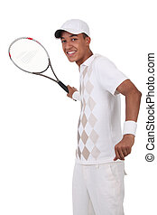 Tennis player practicing forehand shot