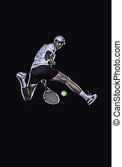 Tennis player reaching for the hard ball isolated