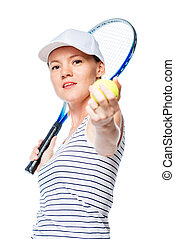 Tennis player ready to hit the racquet on the ball, portrait on a white background