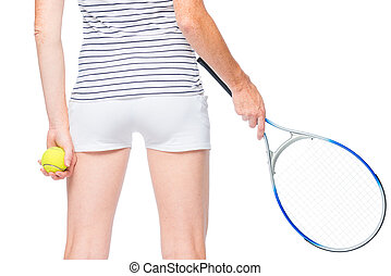 Tennis player rear view of a close-up hip on a white background