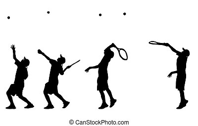 Vector and illustration of tennis player serve silhouettes and shadows