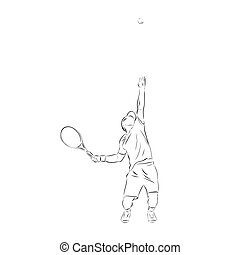 Tennis player serving ball. Pen drawing, isolated vector outline illustration. Line art