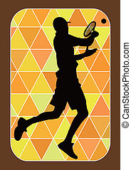 tennis player silhouette - vector