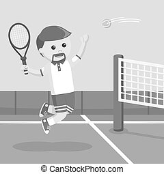 Tennis player smashing a ball