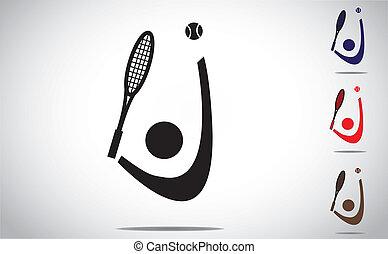 tennis player smashing ball icon