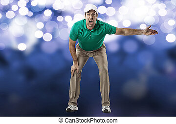 Tennis Player. - Tennis Referre on a blue lights background.