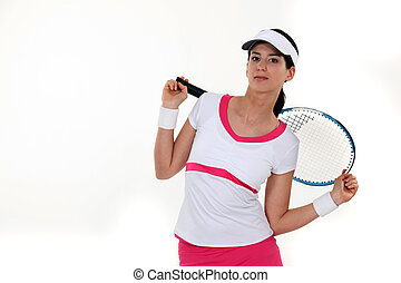 Tennis player stretching