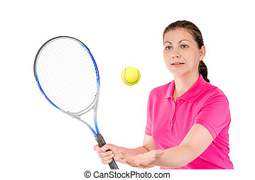 tennis player tossed the ball to hit the racket on a white background
