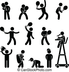 A set of pictogram representing tennis, player, serve, stroke, ball boy, line judge, umpire, referee, and champion.