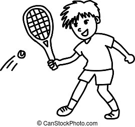 tennis player - vector illustration sketch hand drawn with black lines, isolated on white background