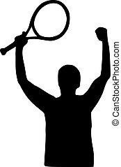 Tennis player winning