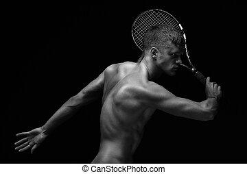 Tennis player with racket - Shirtless muscular tennis player...