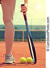 Tennis player with racket. - Tennis player with racket...