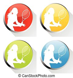 Tennis player woman web icon or badge vector background
