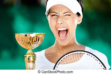 Tennis player won the match - Tennis player won the cup at...