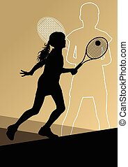Tennis players active sport silhouettes vector abstract ...