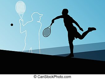 Tennis players active sport